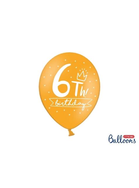 6 balões extra resistentes sexto aniversário (30cm)