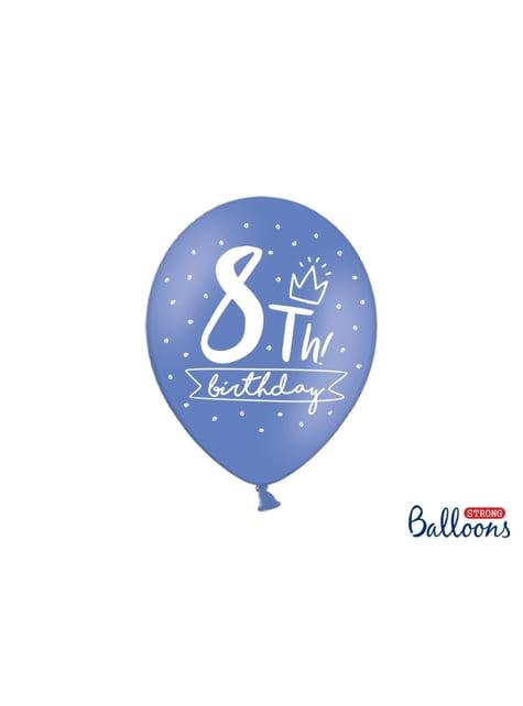 50 globos extra resistentes octavo cumpleaños (30 cm)