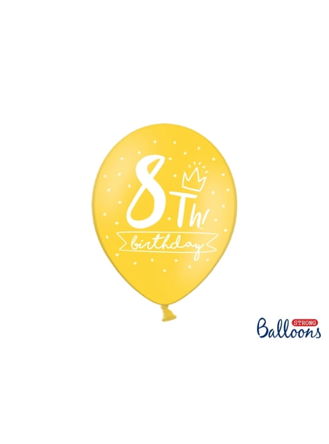 50 ballons extra résistants huitième anniversaire (30 cm)