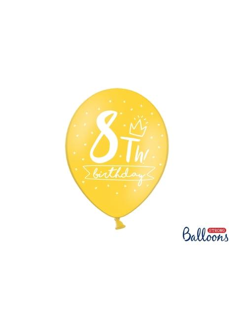 50 globos extra resistentes octavo cumpleaños (30 cm) - comprar