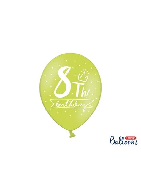 50 globos extra resistentes octavo cumpleaños (30 cm) - para niños y adultos