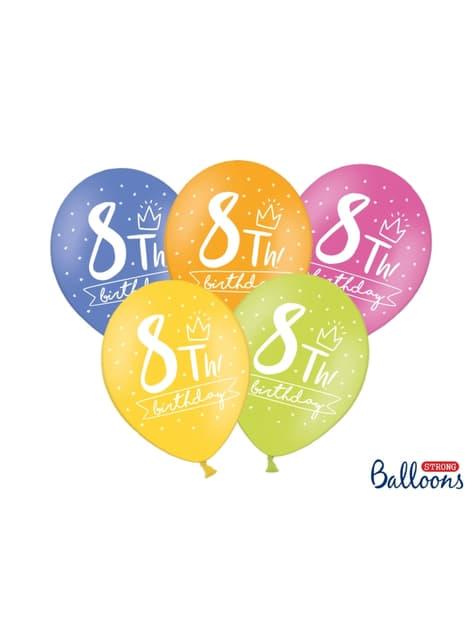 50 globos extra resistentes octavo cumpleaños (30 cm) - original