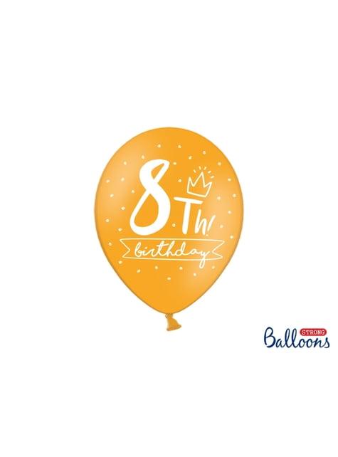6 balões extra resistentes oitavo aniversário (30 cm)