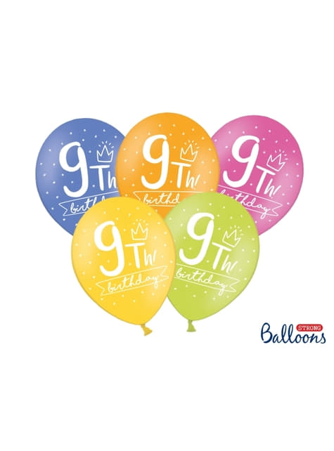 50 extra strong balloons for ninth birthday (30 cm)