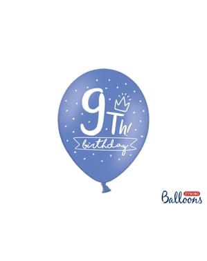 6 extra sterke ballonnen voor negende verjaardag (30 cm)
