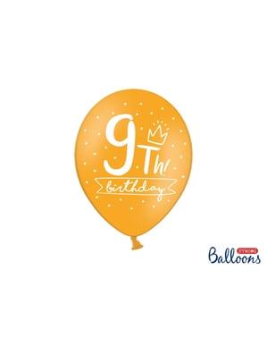 6 ballons extra résistants neuvième anniversaire (30 cm)