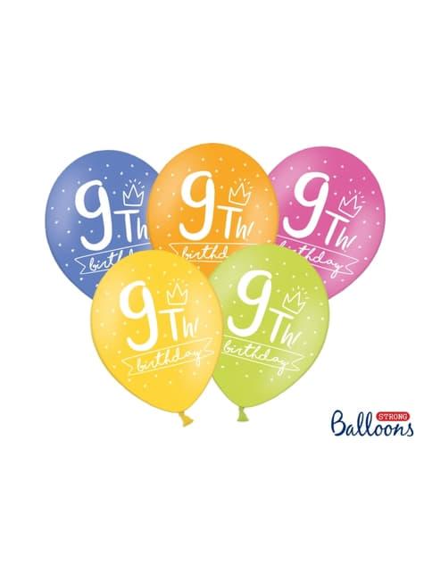 6 balões extra resistentes nono aniversário (30 cm)