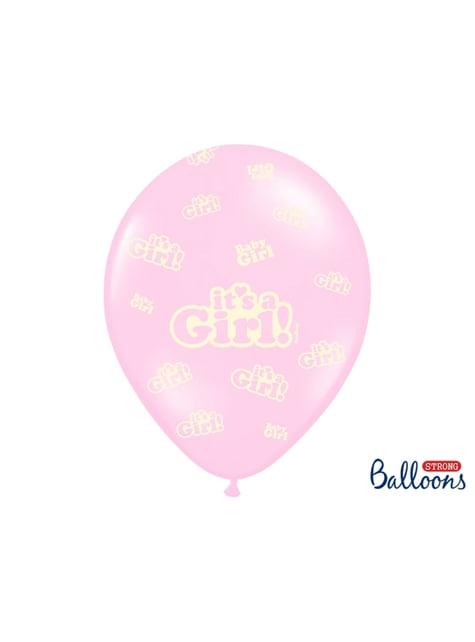 6 balões de látex rosa pastel
