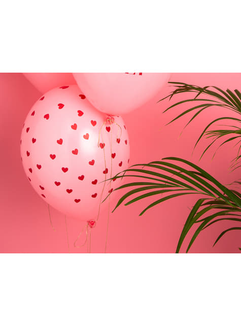 50 balloons with pink hearts (30 cm)