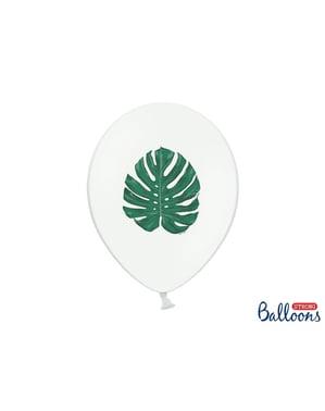 """6 """"ALOHA"""" लेटेक्स गुब्बारे सफेद (30 सेमी) में - अलोहा फ़िरोज़ा"""