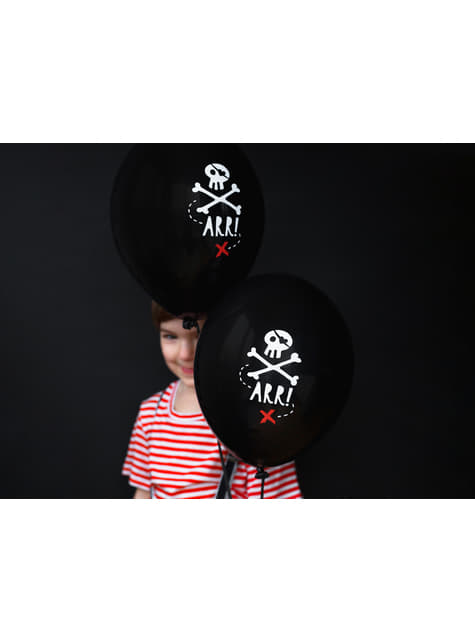 50 palloncini in latex neri con scheletri di pirati (30 cm) - Pirates Party