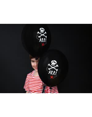 50 palloncini in latex neri con scheletri di pirati (30 cm) - Pirates Party