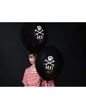 6 бр. Латексови балони в черен цвят и пиратски череп (30 см) - Парти за пирати