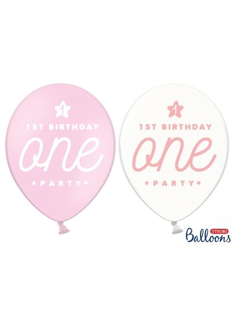 6 balões extra resistentes primeiro aniversário cor-de-rosa (30cm)