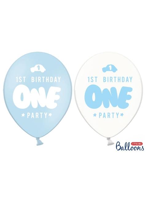 6 balões extra resistentes primeiro aniversário azul pastel (30cm)