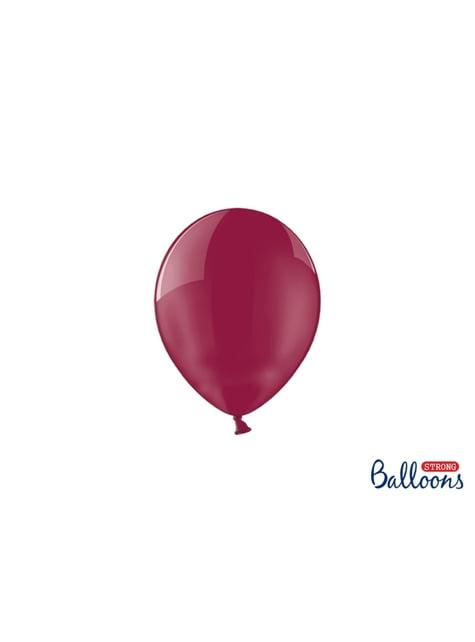 100 silných balónků v lesklé vínově červené barvě, 12 cm