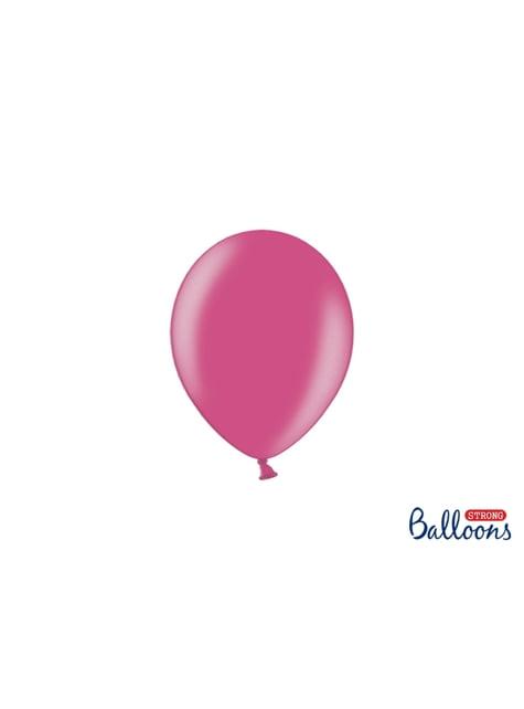 100 sterke ballonnen in metallic roze, 12 cm