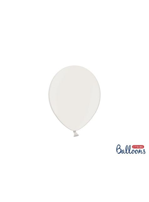 100 globos extra resistentes blanco metalizado (12 cm)