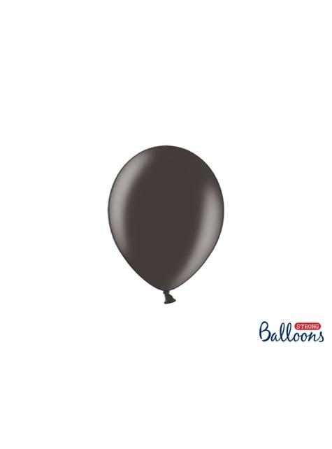 100 sterke ballonnen in metallic zwart, 12 cm