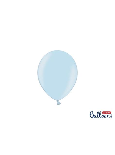 100 ballons extra résistants 12 cm bleu pastel métallisé