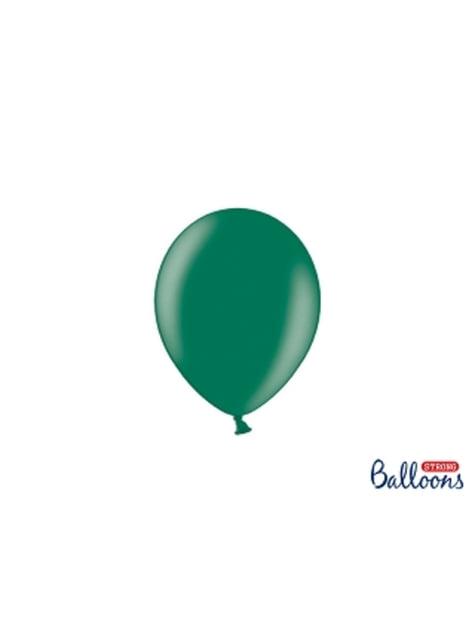 100 globos extra resistentes verde botella metalizado (12 cm)