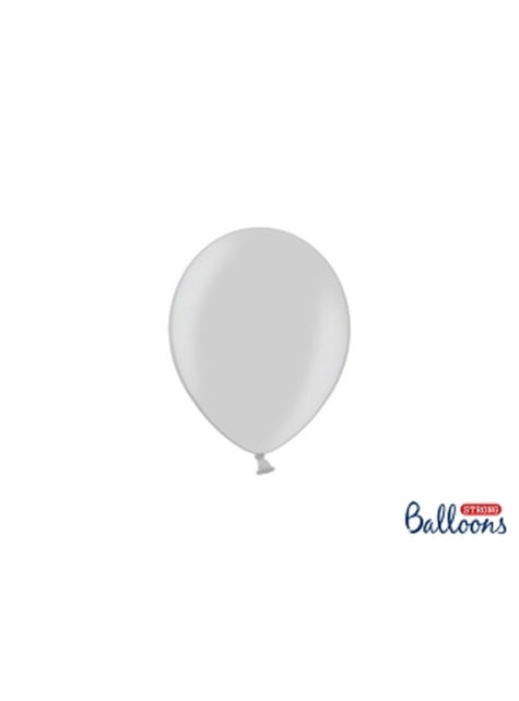 100 sterke ballonnen in helder grijs, 12 cm