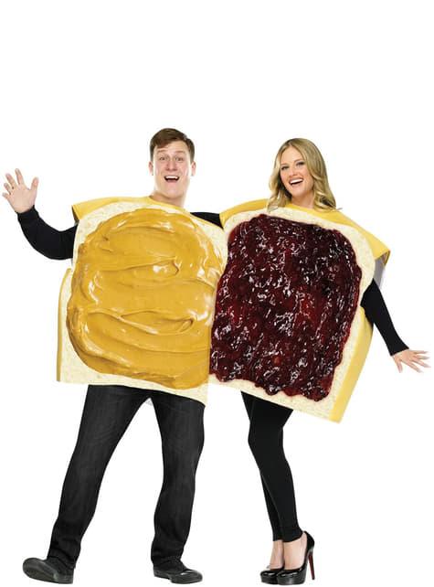 Disfraz para pareja de sándwich de mantequilla de cacahuete con mermelada