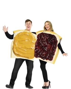 Sandwich kostuum met boter, pindakaas en jam