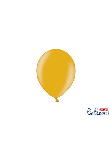 100 sterke ballonnen in goud, 12 cm
