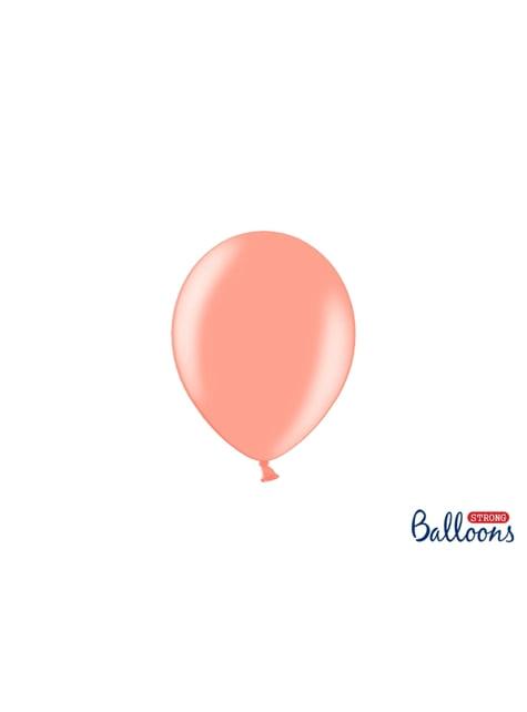 100 globos extra resistentes rosa dorado (12 cm)