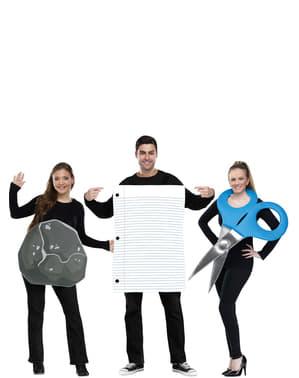 Fato grupal de pedra, papel e tesoura para adultos