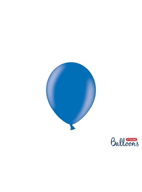 100 sterke ballonnen in metallic blauw, 12 cm