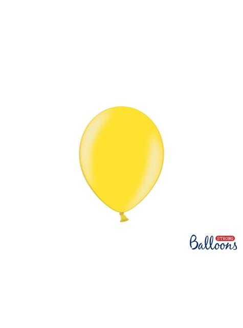 100 sterke ballonnen in licht geel, 12 cm