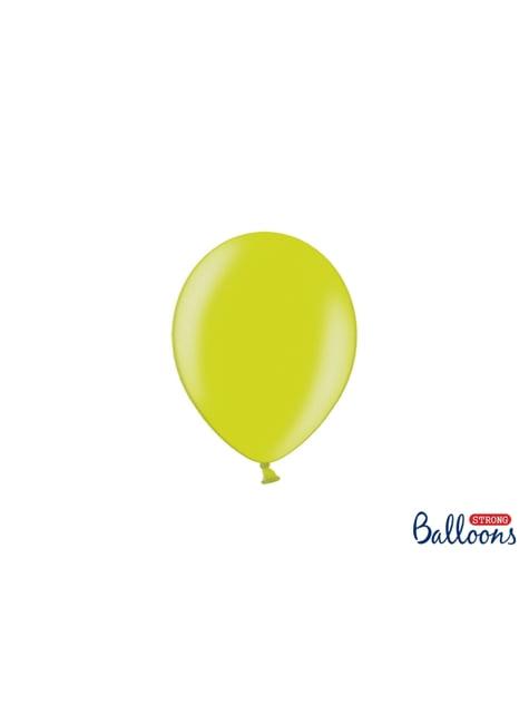 100 sterke ballonnen in licht limoen groen, 12 cm
