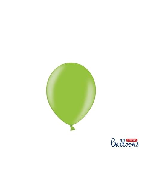 100 silných balónků ve světlezelené barvě, 12 cm