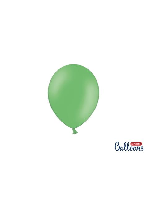 100 silných balónků v zelené pastelové barvě, 12 cm