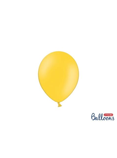 100 sterke ballonnen in geel, 12 cm
