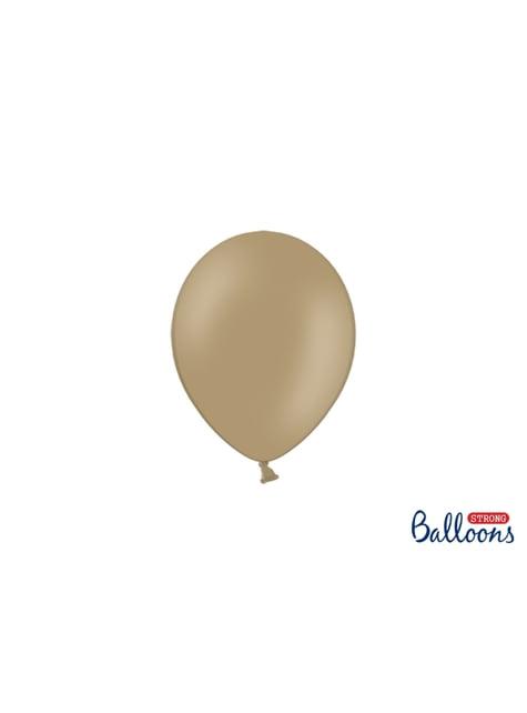 100 sterke ballonnen in licht pastel bruin, 12 cm