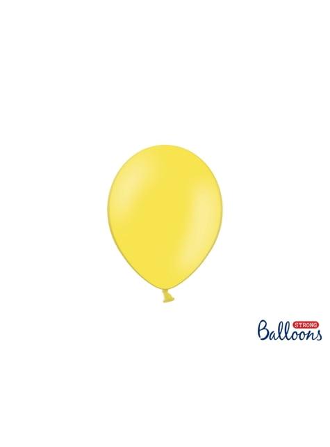 100 sterke ballonnen in licht pastel geel, 12 cm