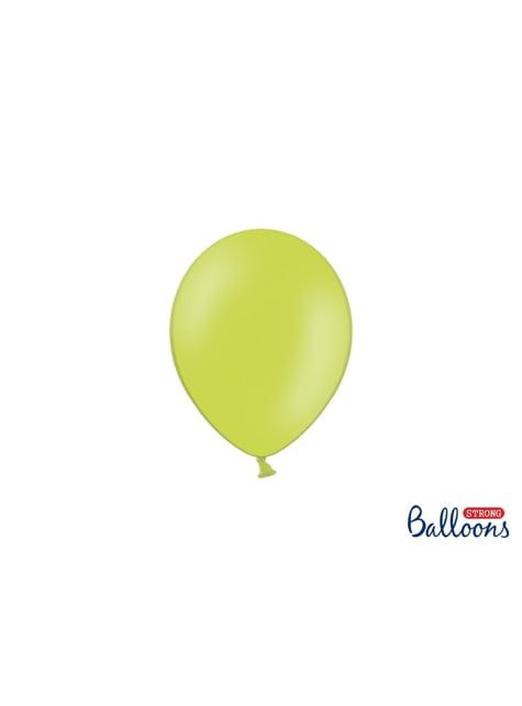 100 globos extra resistentes verde pastel brillante (12 cm)