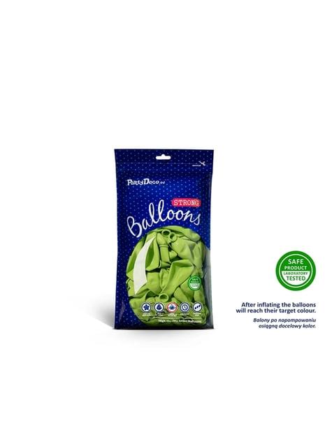 100 globos extra resistentes verde pastel brillante (12 cm) - para tus fiestas