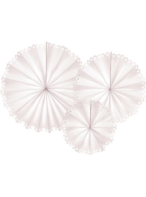 3 abanicos de papel decorativos color beige (25 cm, 34 cm y 42,5 cm)