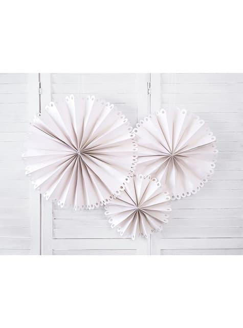 3 Decoratieve papieren waaiers in het beige