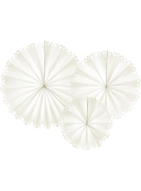 3 abanicos de papel decorativos color blanco (25 cm, 34 cm y 42,5 cm)
