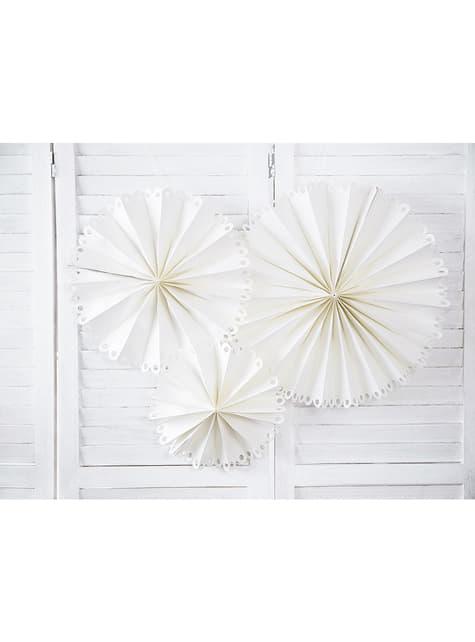 3 dekorativní papírové vějíře bílé