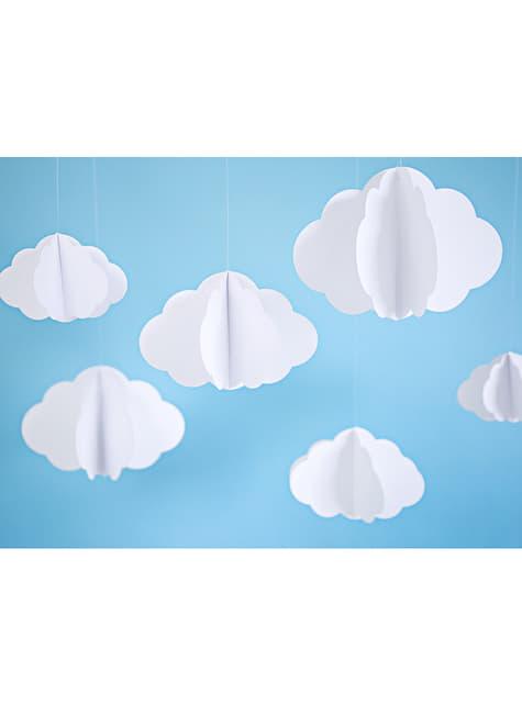 3 Hängedekorationen in Wolkenform - Golden Sky