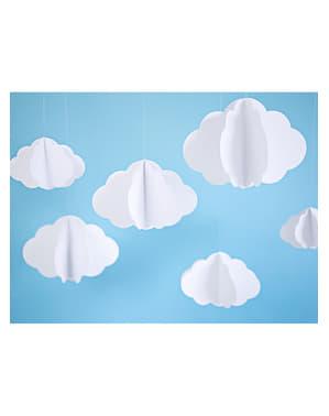 3つのハンギングペーパー雲 - ゴールデンスカイ