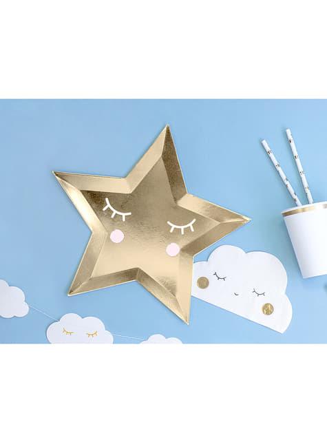 6 platos con forma de estrella con pestañas y coloretes (27cm) - Golden Sky - para tus fiestas