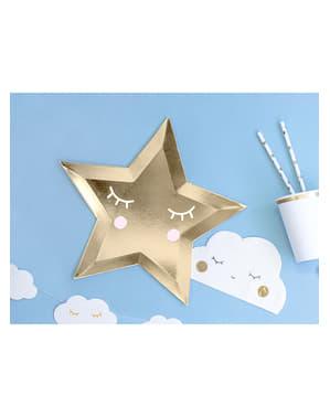 Talerze w kształcie gwiazdy z rzęsami i rumianymi policzkami - Little Star