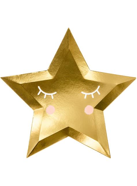 6 platos con forma de estrella con pestañas y coloretes (27cm) - Golden Sky